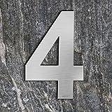 Qoboob® roestvrijstalen huisnummers 4 vier straatnummers fijn geborsteld zilver 200mm (1 stuks)