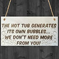 Red Ocean The Hot Tub Generates Its Own Bubbles Novelty Wooden Plaque Jacuzzi Pool Sign
