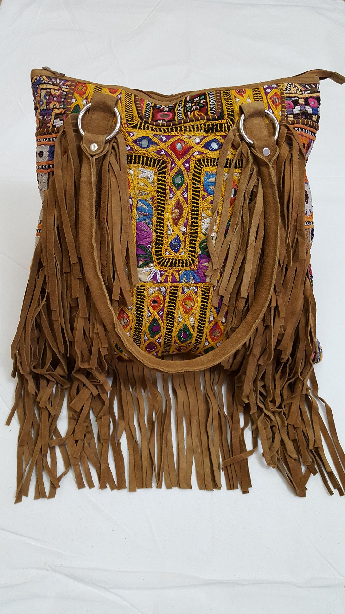 Shoulder Handle bag/Leather Bag/patchwork bag, Fringe Leather Bag - handmade-bags