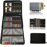 Professionnel Colore Crayons de Dessin Art Set - Malette dessin Inclus pastel, aquarelle, Charbon de bois,métallique crayons