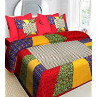 RajasthaniKart Comfort Rajasthani Jaipuri Traditional Sanganeri Print 144 TC Cotton Double Size Bedsheet with 2 Pillow…