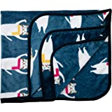 Luvlap Newborn Baby Soft Swaddling Blanket, Blue and Silver Cats (80cm x 100cm)