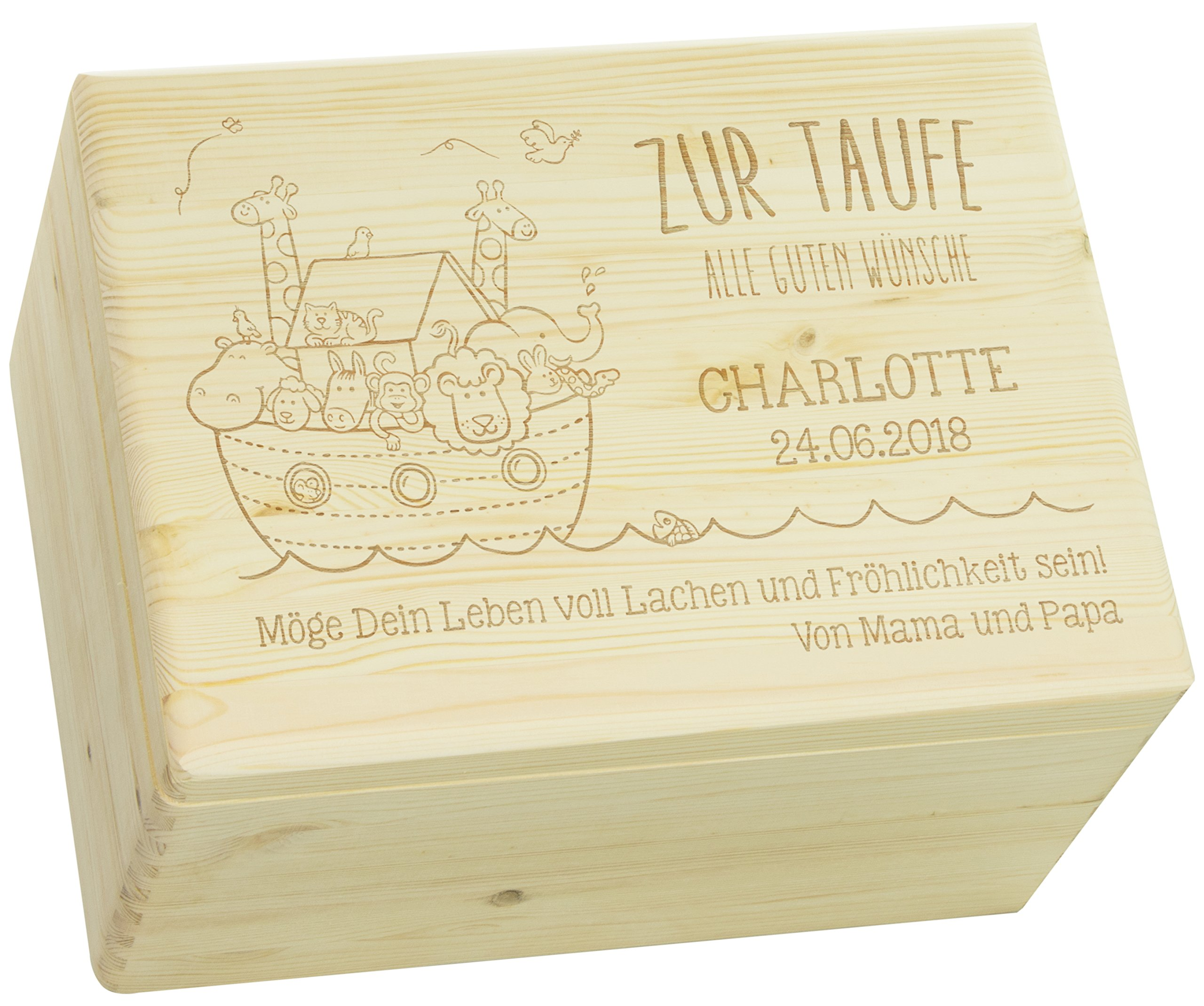 LAUBLUST Holzkiste mit Gravur - Personalisiert mit Name | Datum | WIDMUNG - Natur Größe XL - Arche Noah Motiv…
