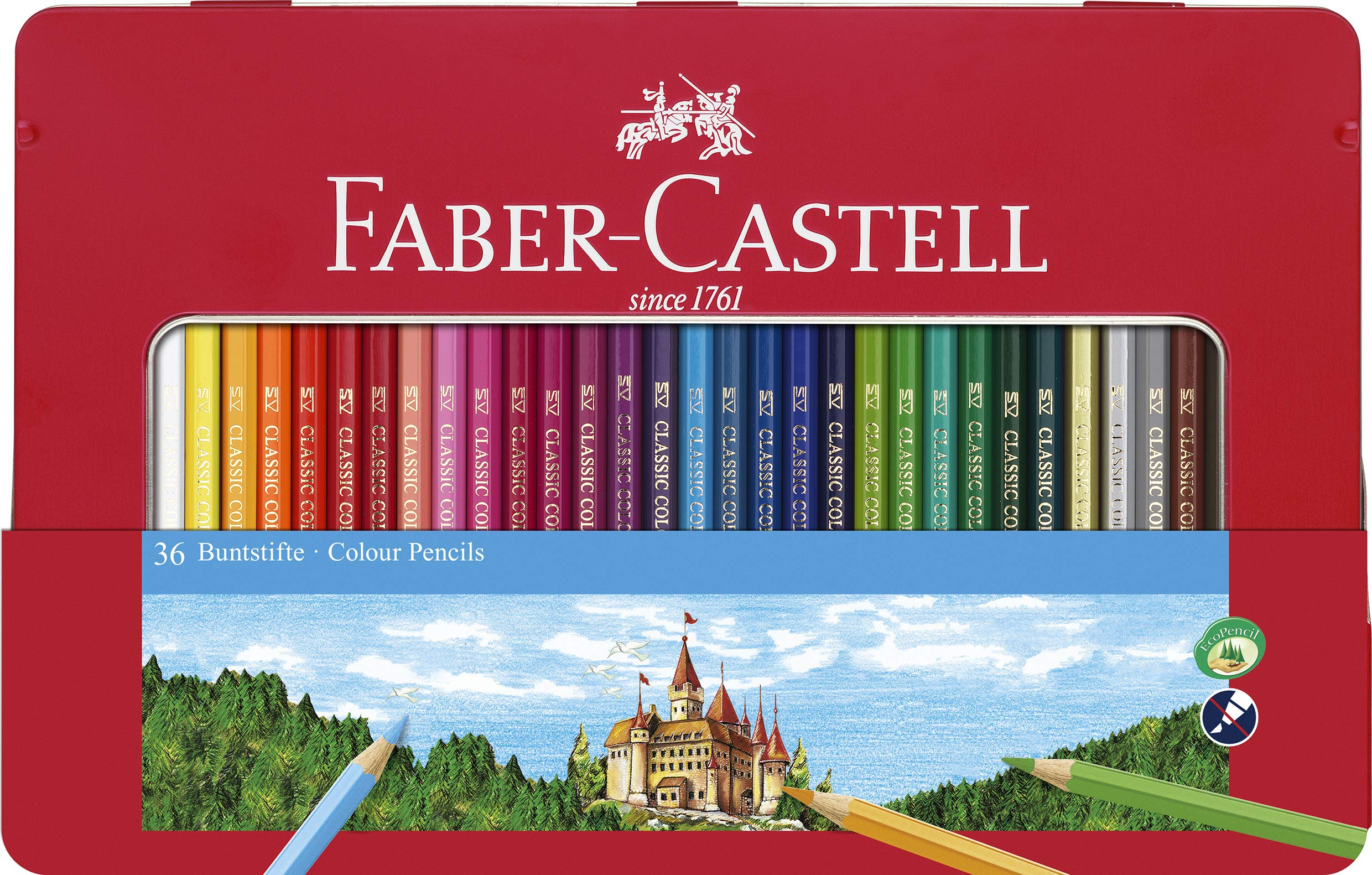 Faber-Castell 115886 – Estuche de metal con 36 lápices de colores, multicolor