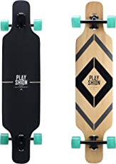 PLAYSHION Longboard 39 Zoll, mit ABEC-11 Kugellagern, Drop-Through Freeride Skateboards Cruiser