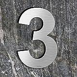 qoboob® roestvrij staal huisnummers 3 drie straatnummers fijn geborsteld zilver 200mm (1 stuks)