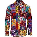 COSAVOROCK Mens Hippie Floral Shirts Long Sleeve Casual Funky Hawaiian Shirt