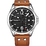 Stuhrling Original Reloj de cuero para hombre, reloj de aviación, fecha de día, correa de cuero con remaches de acero, colecc