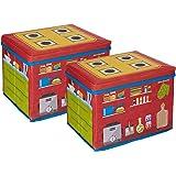 Amazon Brand - Jam & Honey Toy square Storage Box, Pack of 2, Red