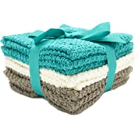 Living Fashions Washcloths Set of 8 Popcorn Weave Texture Designed to Exfoliate Your Hands, Body Or Face Extra Absorbent Ring Spun Cotton Size Colors Teal, Cream & Taupe 12
