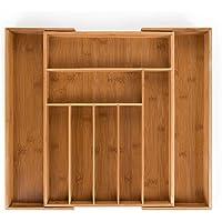 Blumtal - Range Couverts - Range Tiroir Bambou Extensible - Jusqu'à 9 Compartiments - (33,7x44,5x5cm) / (50x44,5x5cm)
