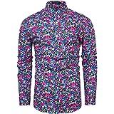 fohemr Mens Floral Shirt Casual Button Down Long Sleeve Flower Printed Shirt 100% Cotton