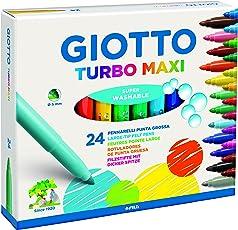 Giotto 455000 Pennarelli Turbo Maxi Punta Larga, 5 mm, Conf. da 24 tonalita' di colori