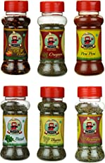 Fressco Nature's Garden Chilli Flakes, Oregano, Peri Peri, Basil, Thyme and Rosemary, 255 Grams (Combo of 6)