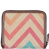 ZOUK Women's Mini Handmade WavBeach Print Vegan Leather and Jute Khadi Compact Wallet with Zip (Multicolour)