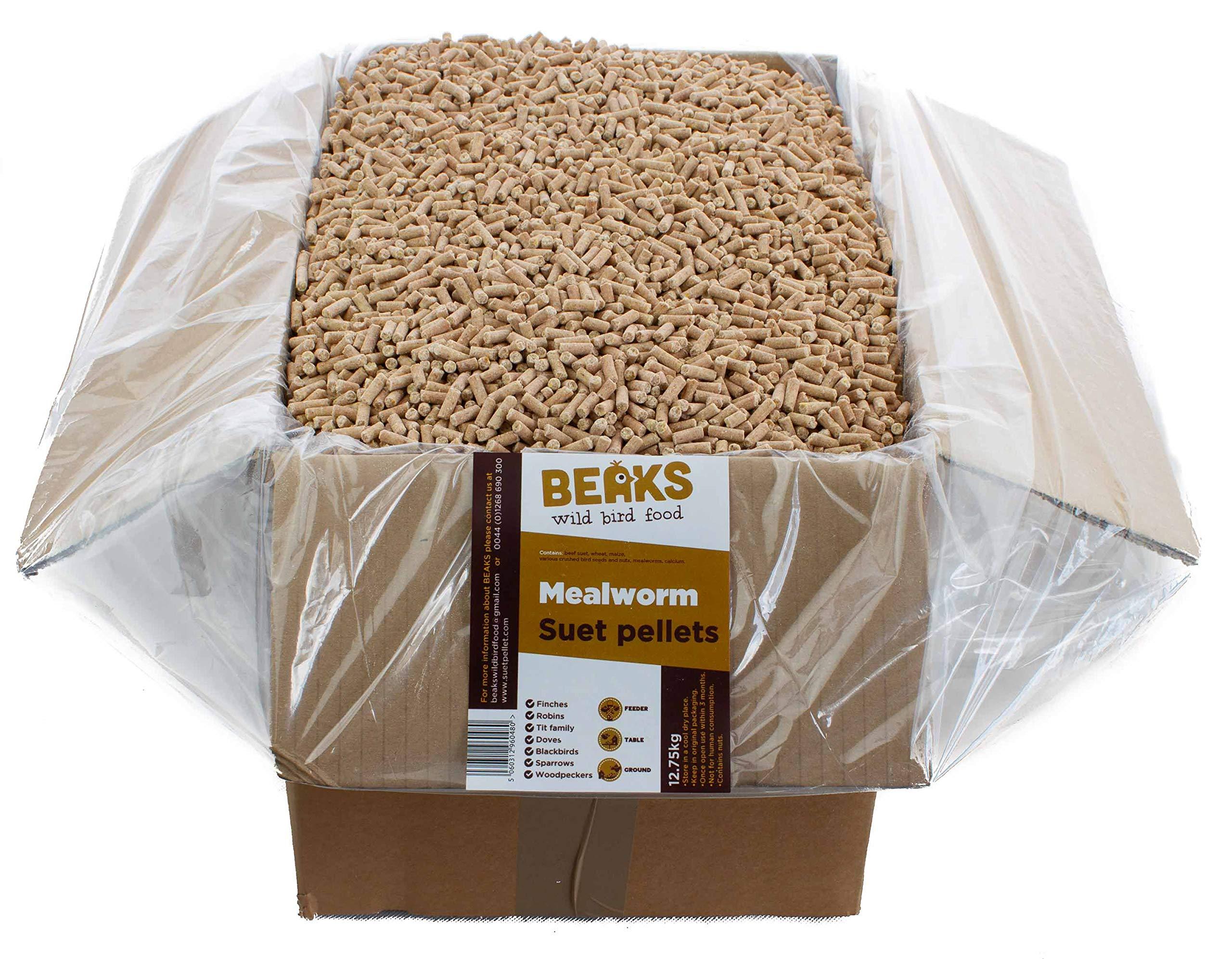BEAKS wild bird food Mealworm Suet Pellets 12.75kg Box free p&p