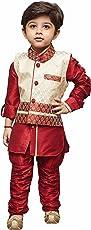 JBN Creation Boys Cotton Silk Kurta Modi Jacket and Breeches Set (Maroon_VASBJSH001MA)