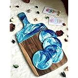 Tagliere Con Effetto Marmo Resina Blu, Turchese & Bianco 42 o 32 cm