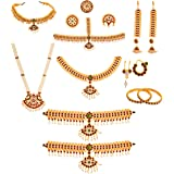 Usha Gold Plating Green and Red Kemp Stones Gold Copper Complete Bharatanatyam Jewellery Set with All the 10 Separate Ornamen