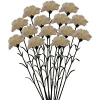 Fourwalls Artificial Synthetic Single Carnation Flower Stick (45 Cm Tall, Set Of 15, White)
