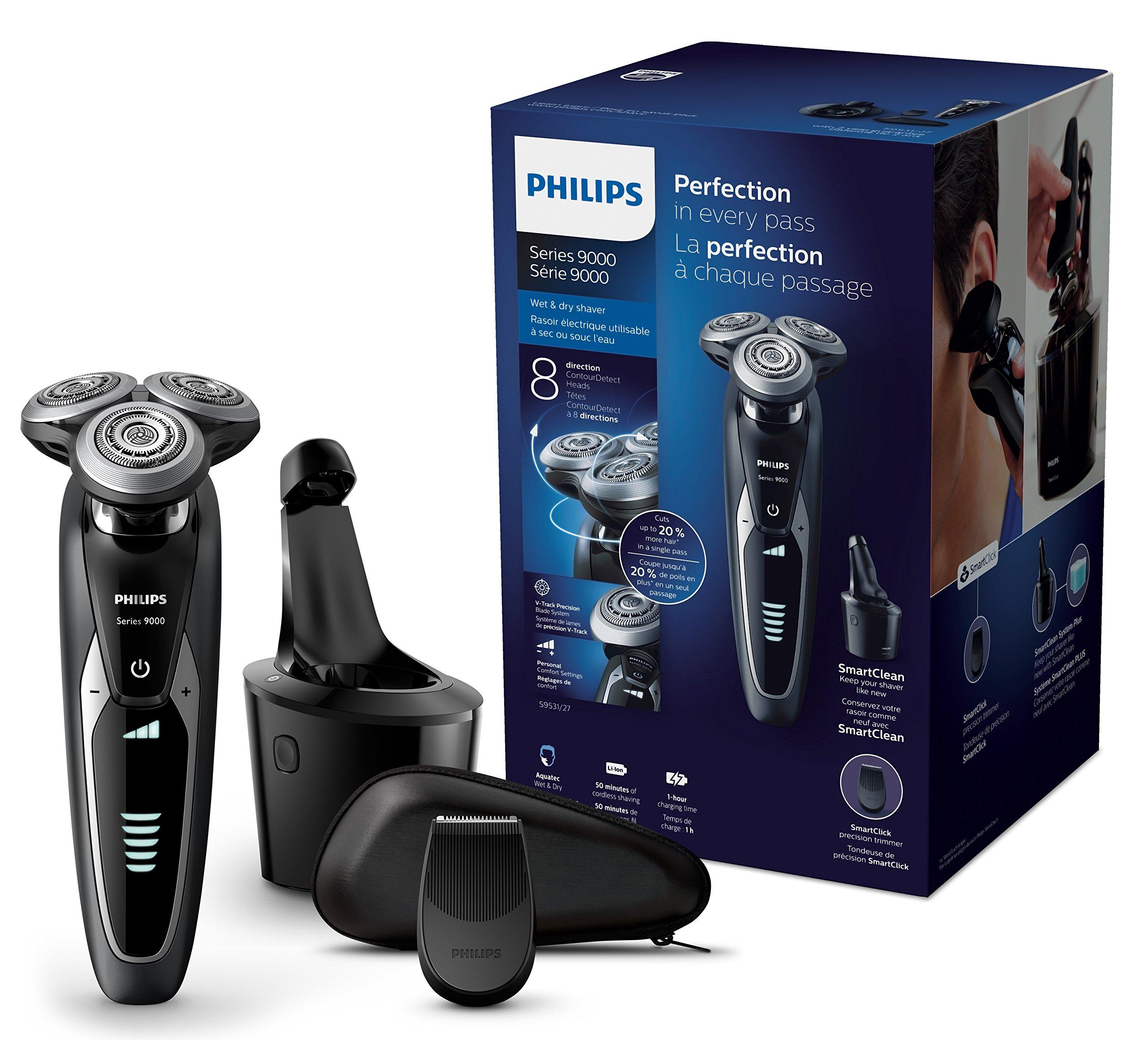 Philips Elektrischer Nass-und Trockenrasierer Series 9000 mit V-Track-Pro-Klingen, Bartstyler