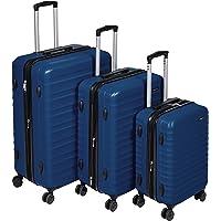 Amazon Basics Valise de voyage à roulettes pivotantes, Bleu marine, Lot de 3 valises (55 cm, 68 cm, 78 cm)