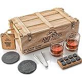 Idee Cadeau Homme Originale - Coffret Cadeau Pierres à Whisky avec Verres à Whisky - Cadeau Papa Anniversaire - Glacons Reuti