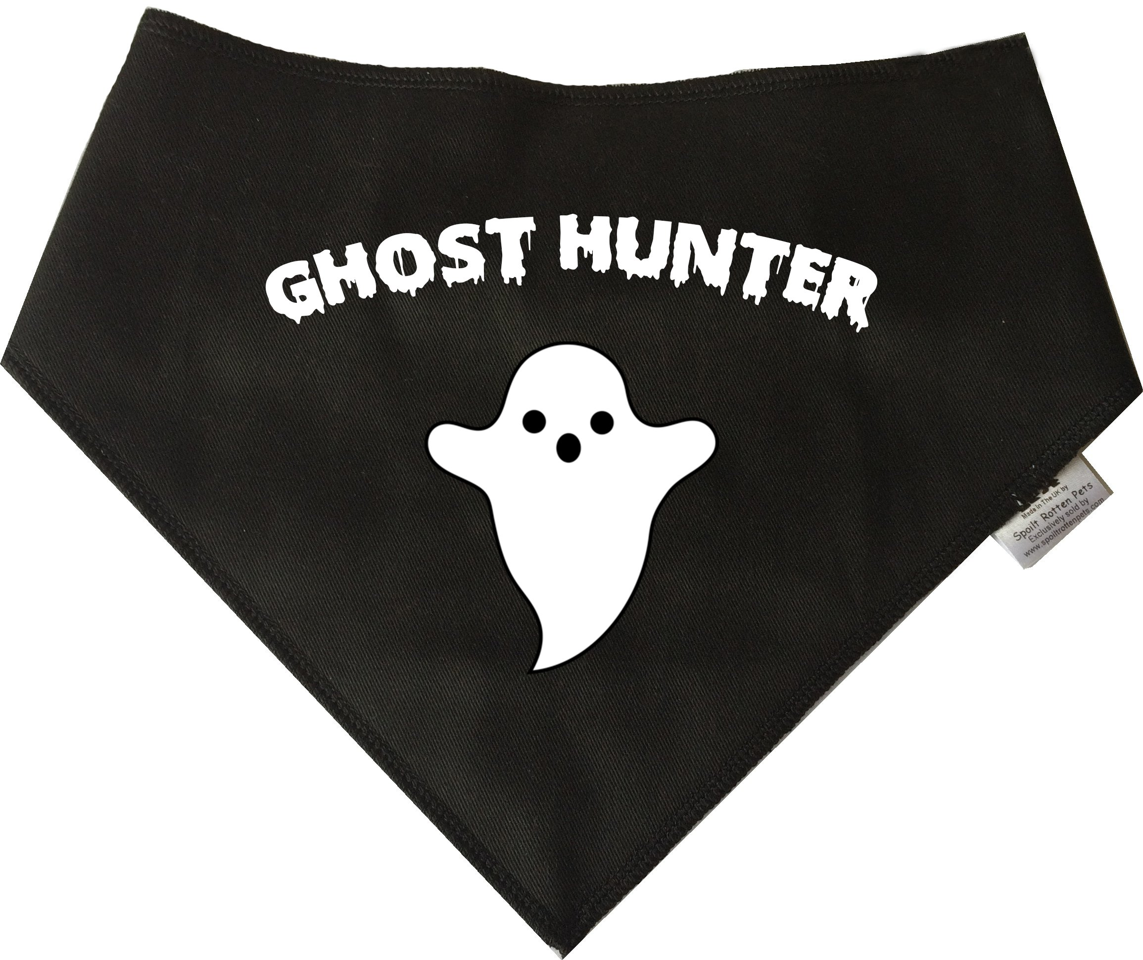 Spoilt Rotten Pets (S4) Black GHOST HUNTER Dog Bandana Adjustable Neck to Fit Large to Extra/Large Dogs – Neck Size 23″ – 28″ Generally Fits Chow Chow, German Shepherd, St Bernard, Dogue de Bordeaux and Similar Sized Dogs.
