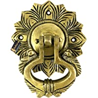 Two Moustaches Ethnic Carving Peacock Over Ring Brass Door Knocker