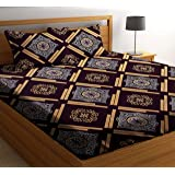 HIYANSHI HOME FURNISHING Microfiber King Size Double Bedsheet with 2 Pillow Covers (Coffee)