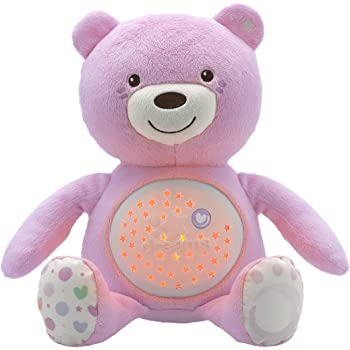 Chicco 8015100000 - Ourson Projecteur Baby Bear - Rose - Peluche Musicale - 3 effets lumineux