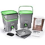 Bokashi Organico Eco Poubelle Set de déchets organiques avec Bran activateur - Grand, 2 x 16 litres Composteurs pour déchets de cuisine - Sans odeur