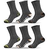 QiRung 6 Pairs Men's Work Socks, Hiking Socks, Walking Socks, Wicking Breathable, Full Terry Cushioned, Steel Toe Cap Boot So