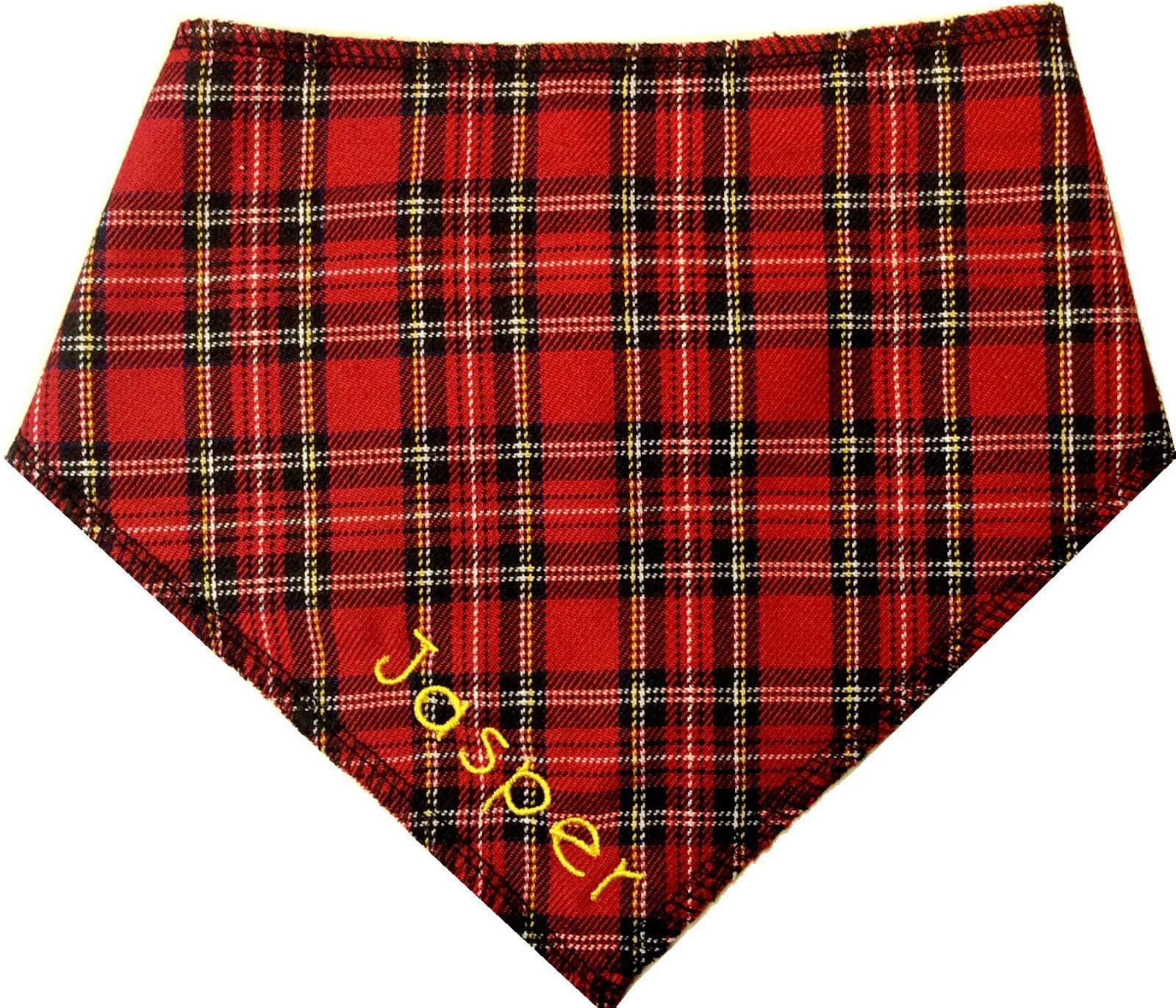 Spoilt Rotten Pets (S4) Personalised Red Tartan Royal Stewart Kilting Dog Bandana – For Chow Chow, St Bernard, Mountain dog – Fantastic Quality Adjustable Design – For Larger Breeds Of Dog
