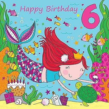 Twizler 6 Geburtstagskarte Fur Madchen Mit Niedlichem Mermaid