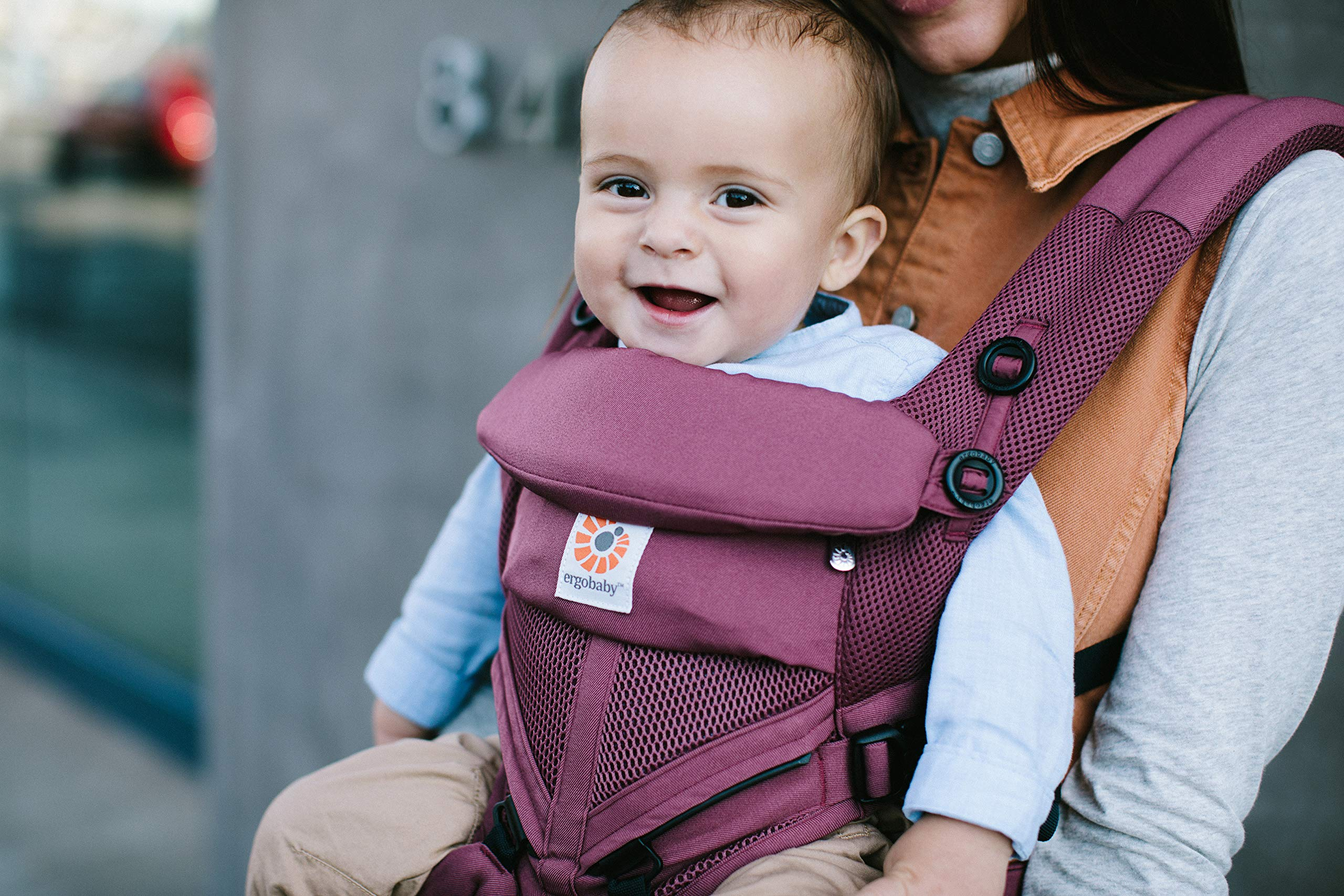 Ergobaby Baby Carrier for Newborn to Toddler, 4-Position Omni 360 Cool Air Plum, Breathable Ergonomic Child Carrier & Backpack Ergobaby BABY CARRIER FOR NEWBORN - Adapts to your growing baby from birth to toddler (7-45lbs). 4 carry positions: front-inward, back, hip, and front-outward. A Baby hood for sun protection (UPF 50+) & privacy for sleeping or breastfeeding is included. COMFORT - Exceptional lower back comfort with padded lumbar support waist belt & extra padded shoulder straps with the option to wear 2 ways: crossed or backpack style. Waist belt can be worn high or low to maximize comfort. COOL & BREATHABLE - Our Cool Air Mesh baby carriers are made with soft and durable mesh fabric that provides our renowned ergonomic support for baby while allowing for ultimate breathability and airflow 6