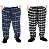 Brooklyn Mens 2 Pack Checkered Lounge Pants Pyjama Bottoms for Relaxing Lounging Navy/Black 2XL-8XL 100% Cotton