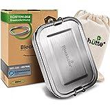 Blockhütte. Premium Edelstahl Brotdose I 800ml I für Kinder inkl. Fächern & Ersatzdichtung. I Die Frischhaltedose mit Trennwa