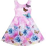 Sunny Fashion Vestido para niña Rosa Flor Impresión Mariposa Bordado Morado 4-12 años