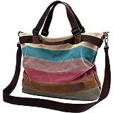 Damen Handtasche Canvas, Mädchen Lässige Umhängetasche Schultertasche Leinwand Hobo Shopper BagTasche Henkeltasche Mehrfarbig
