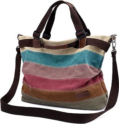 Damen Handtasche Canvas, Mädchen Lässige Umhängetasche Schultertasche Leinwand Hobo Shopper BagTasche Henkeltasche Mehrfarbig, Große Größe 44x34x13CM