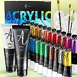 Acrylverfset 24 kleuren (22х22ml + 2x50ml) voor canvas schilderen, hout, stof, klei, keramiek en ambachten. Acrylverf met rij