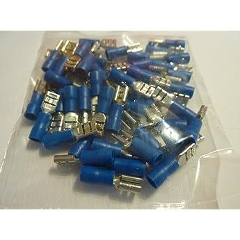 weiblich flach 4.8mm 0.5mm 1.5-2.5mm2 blau isoliert Aerzetix Klemme 10 x Kabelschuhe Kabelschuh