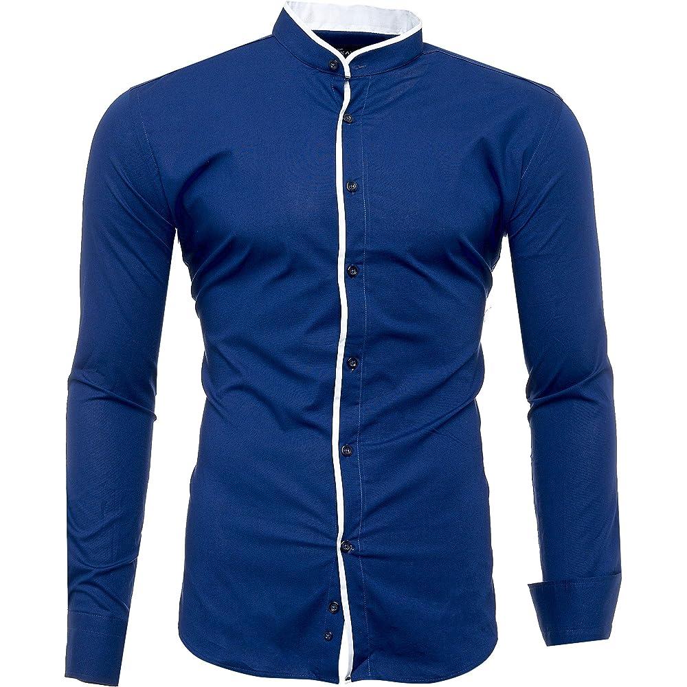 Kayhan,originale camicia per uomo,maniche lunghe,97% cotone, 3% elastan,colletto coreana A-Barcelona-0001