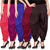 Culture the Dignity Women's Lycra Dhoti Patiala Salwar Harem Pants CTD_00PP1B1MB2_2-PINK-PURPLE-BLUE-MAROON-BROWN-FREESIZE -Combo Pack of 5
