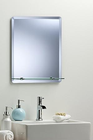 Rectangular Bathroom Wall Mirror Modern Stylish With Shelf And Bevel Plain 3 Sizes