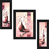 SAF Diwali Gift UV Textured Flower Print Framed Painting Set of 3 for Home Decoration – Size 35 x 2 x 50 cm PhotoSA7721