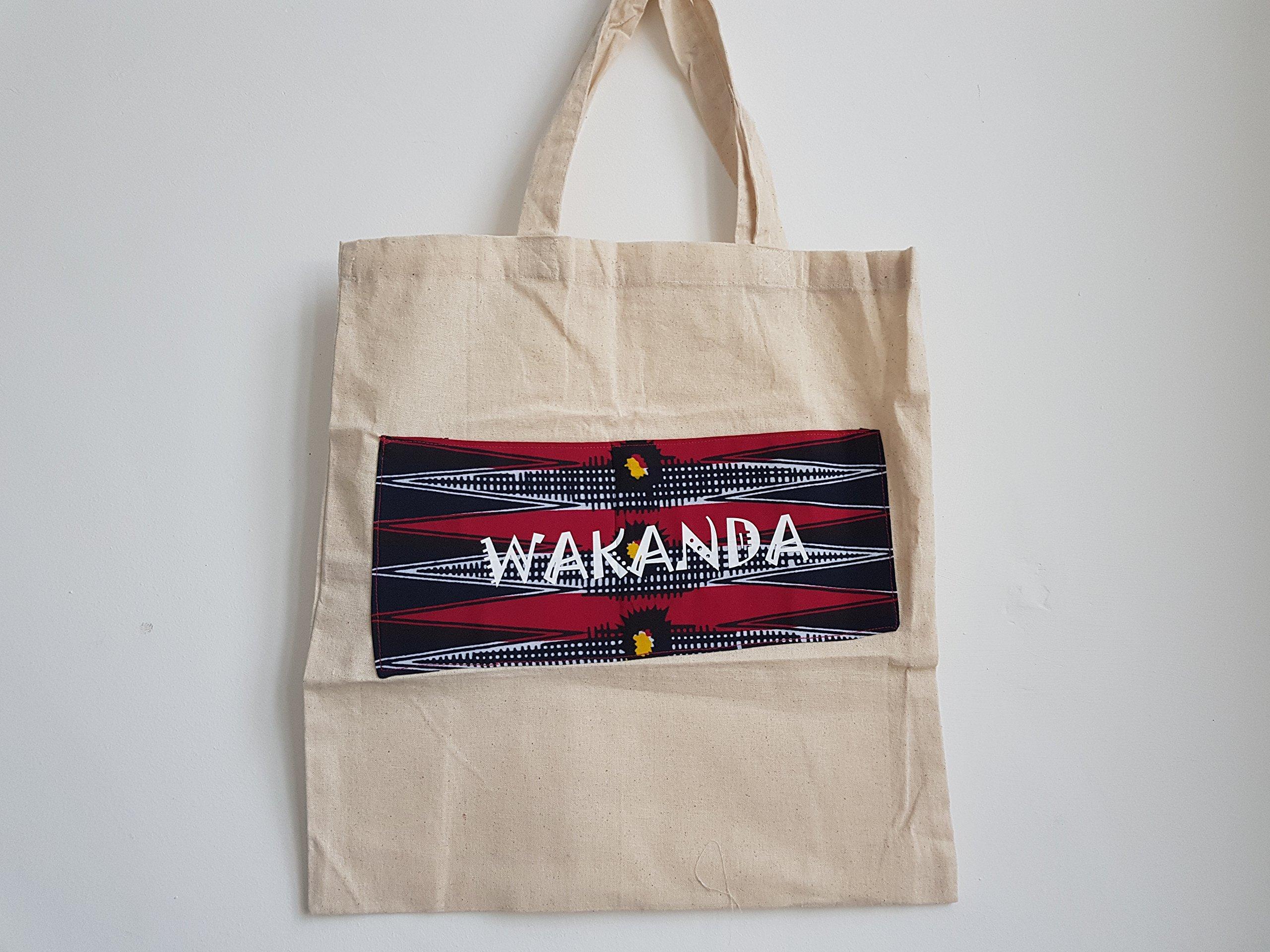 Customised Calico Tote Shopper Bag with Ankara African Wax print - Wakanda Black Panther - handmade-bags