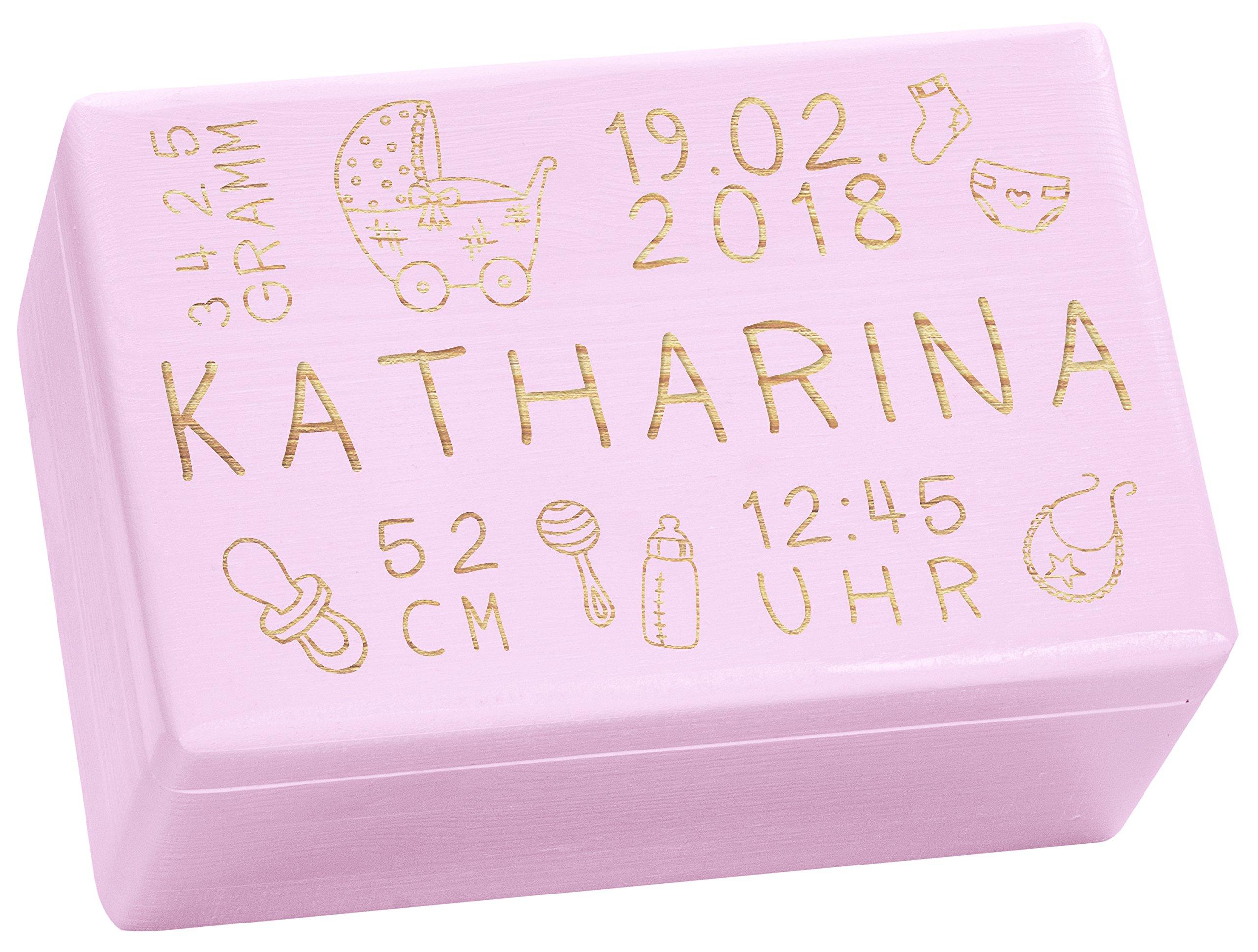 Holzkiste Mit Gravur Personalisiert Mit Geburtsdaten Rosa Grosse M Rassel Motiv Erinnerungskiste Als Geschenk Zur Geburt Laublust