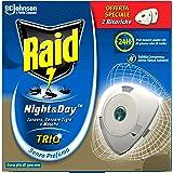 Raid Night & Day Trio Antizanzare con Sabbia Compressa, Confezione da 2 Ricariche, Senza Profumazione